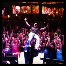 "Chance McKinney ""stage dives"" with the crowd at Tulalip Resort Casino"